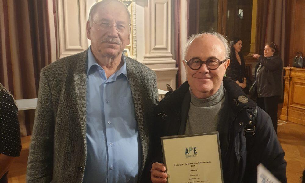 Jean-Pierre Pont et Gideon Kouts, ancien président de l'Association de la Presse Etrangère en France
